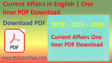 """""""Current Affairs in English One liner PDF Download"""